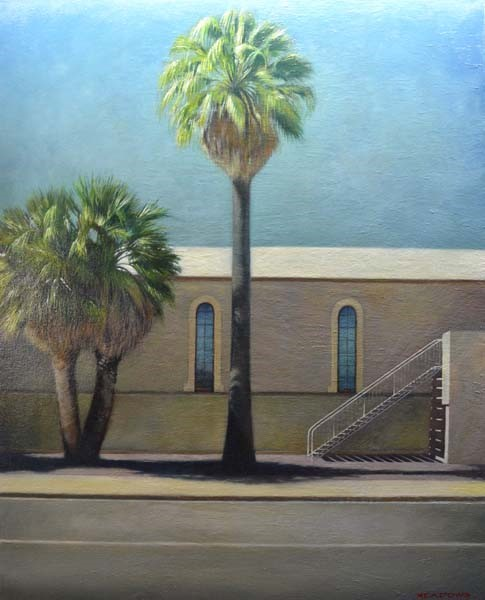 Christopher Meadows, Large Palm & Stairs, Oil on Canvas