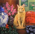 MARGARET SLAPE-PHILLIPS - TIGGER WITH RED FAN - 30 CM x 30 CM - Oil on Canvas.JPG