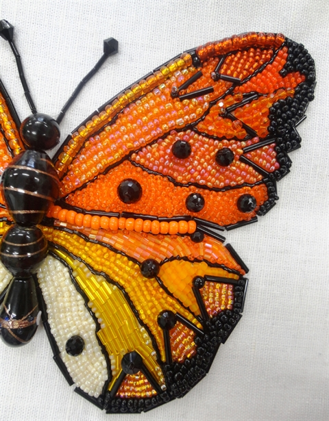 Julia STEPHENS 'Orange Butterfly' Beaded Textiles.JPG