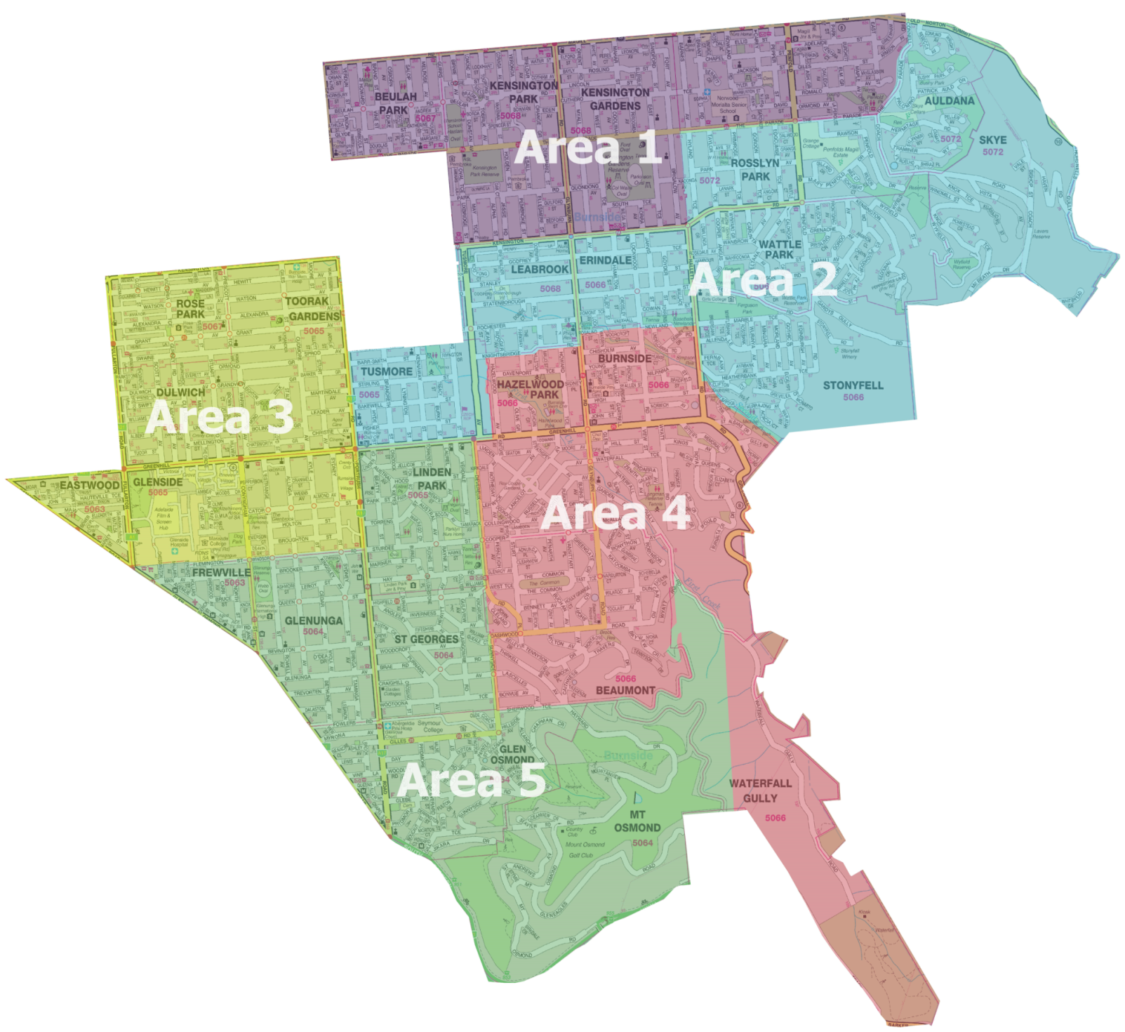 Waste collection areas in the City of Burnside